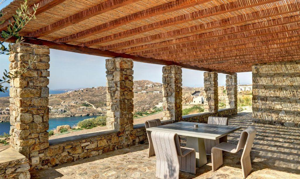 Villa Raisa Super Paradise Mykonos, outdoor, dining table, chairs, sea, island, sky