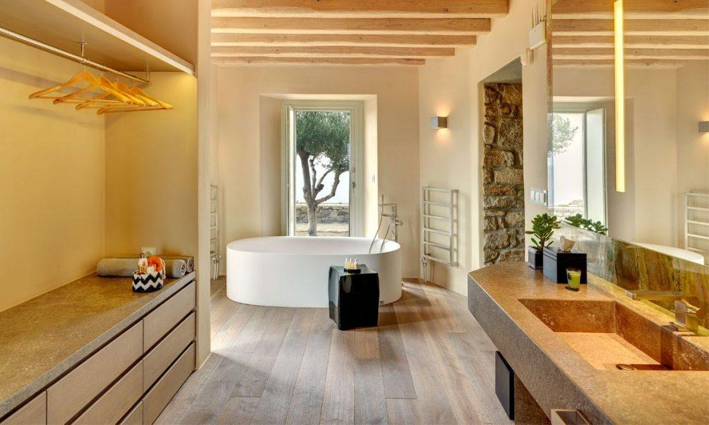 Villa Raisa Super Paradise Mykonos, 3rd bathroom, washstand, mirror, bathtub, shower