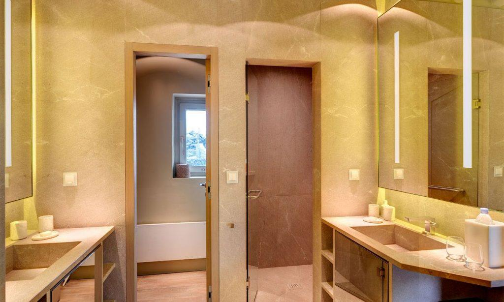 Villa Raisa Super Paradise Mykonos, 1st bathroom, washstand, mirrors, shower, soap, glasses