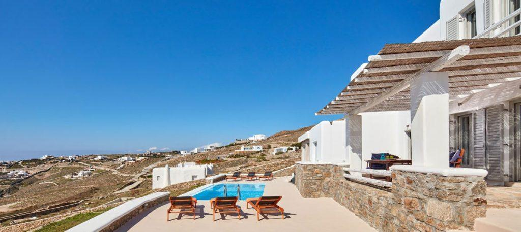Villa Orion Retreat, Houlakia, Mykonos, outdoor, pool, climbers, island, sky