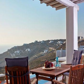 Villa Orion Retreat, Houlakia, Mykonos, outdoor, terrace, chairs, table, island, sky