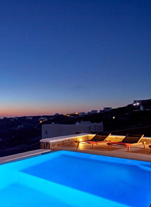 Villa Orion Retreat, Houlakia, Mykonos, night, outdoor, pool, climbers, lights, sky
