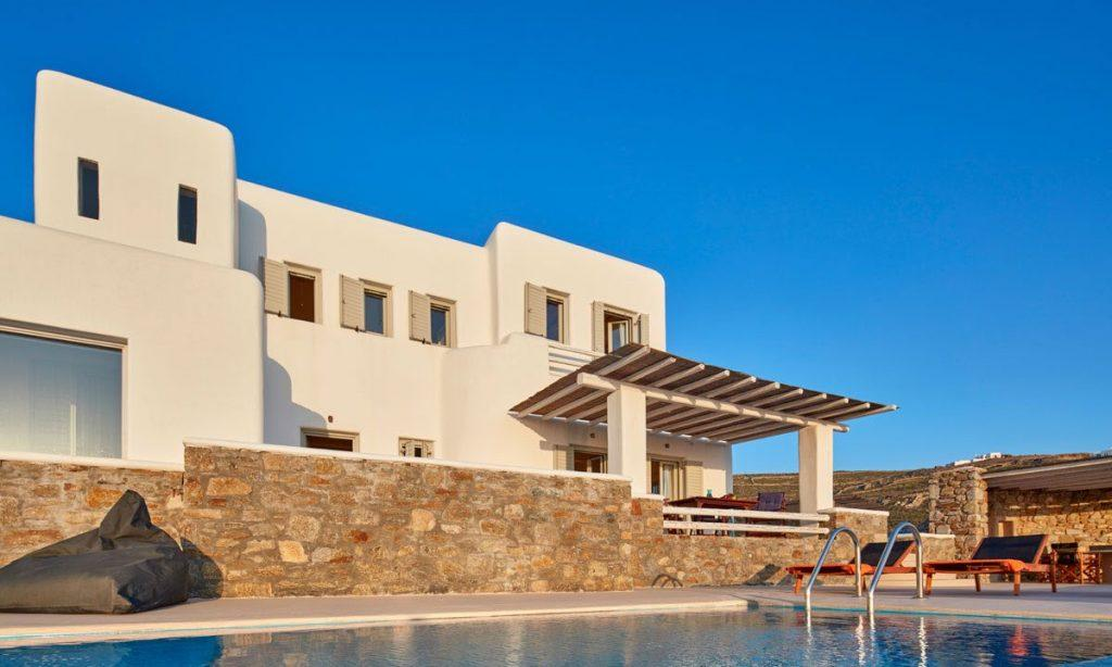 Villa Orion Retreat, Houlakia, Mykonos, villa exterior, sky, pool, sun bed, climbers