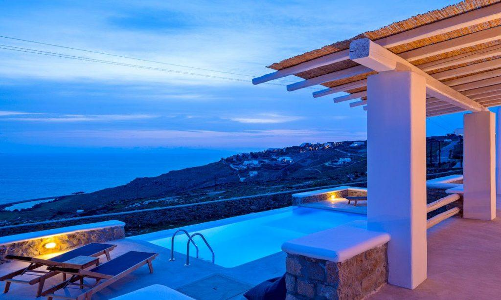 Villa Orion Retreat, Houlakia, Mykonos, outdoor, pool, climbers, sea, sky, clouds