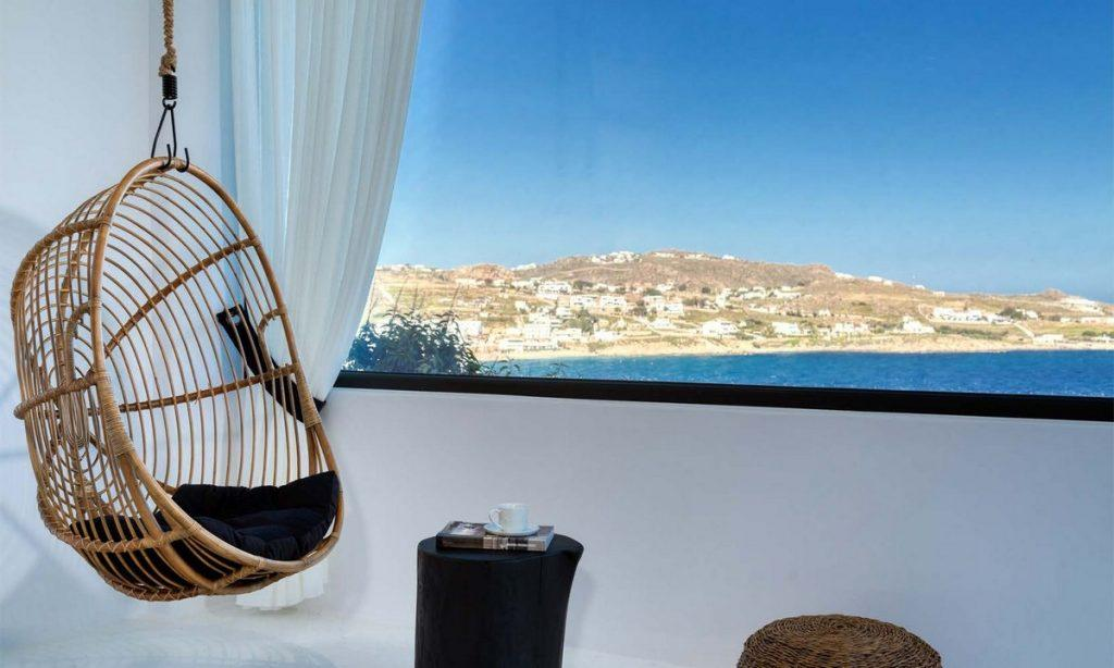 place with stunning view to relax with egg shaped knitted seesaw