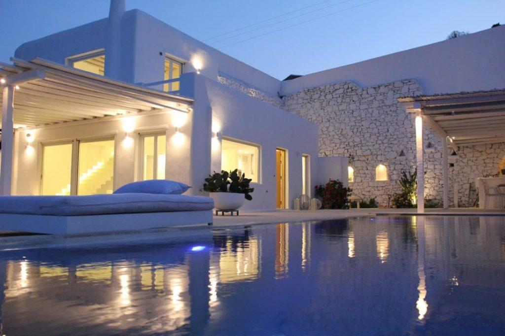 lit villa walls with beautiful outdoor view
