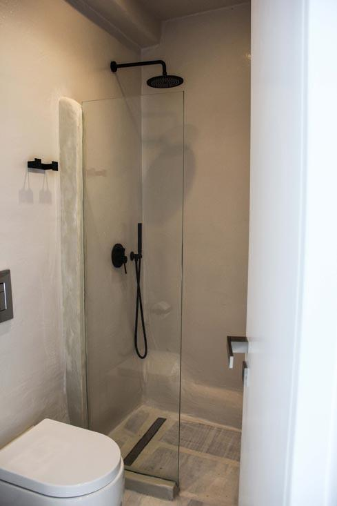 bathroom with glass shower and toilet