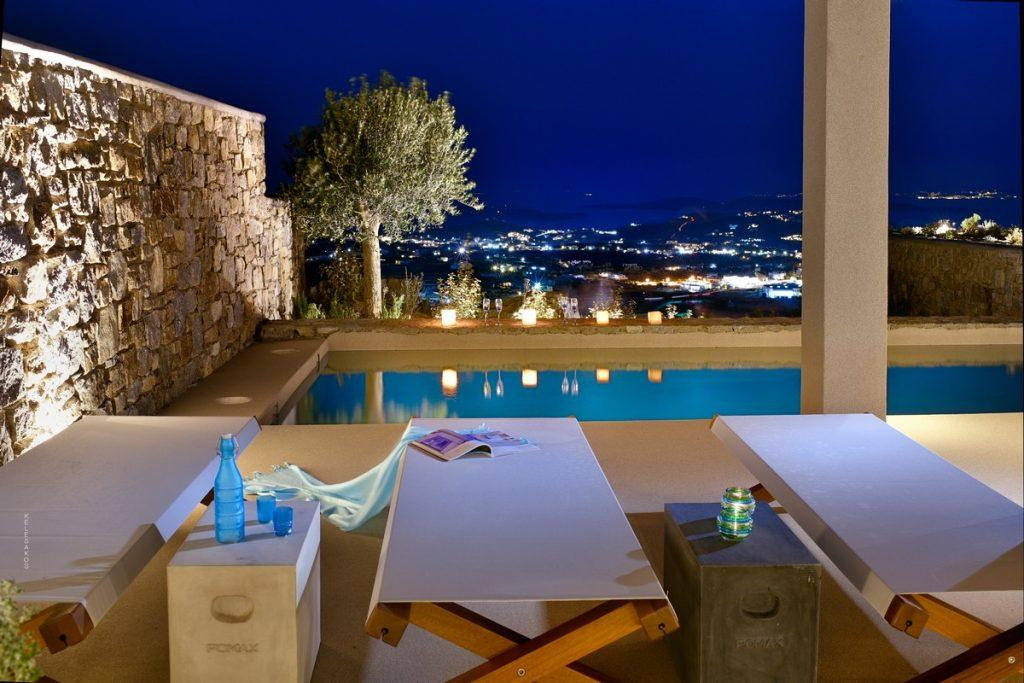 outdoor area with beautiful look on sea and mykonos city