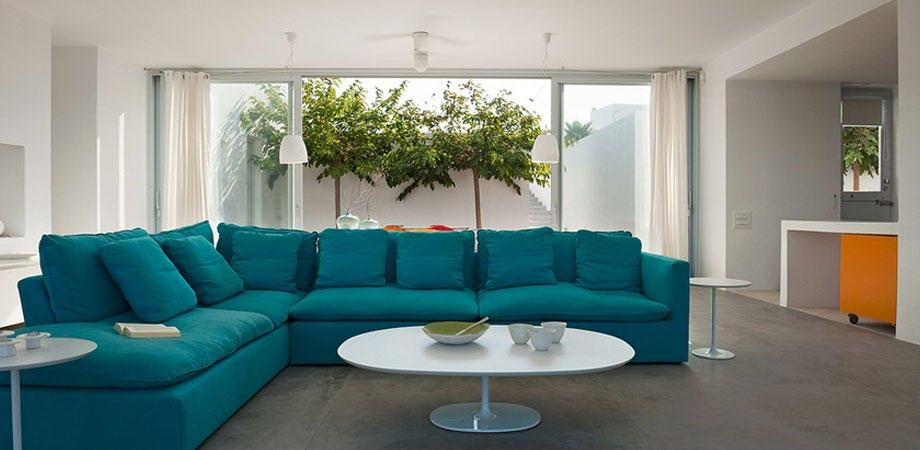 living area for relaxing and hanging out on blue sofa