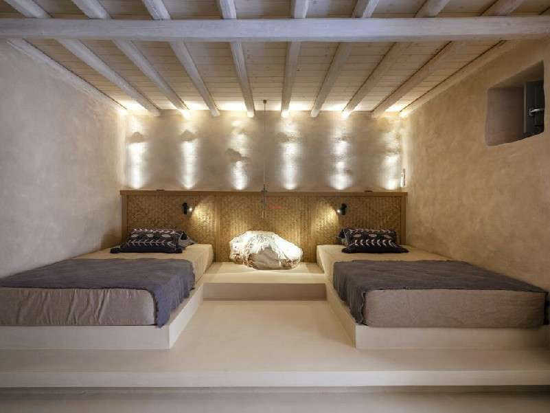 lustrous lighted double bedded designed bedroom