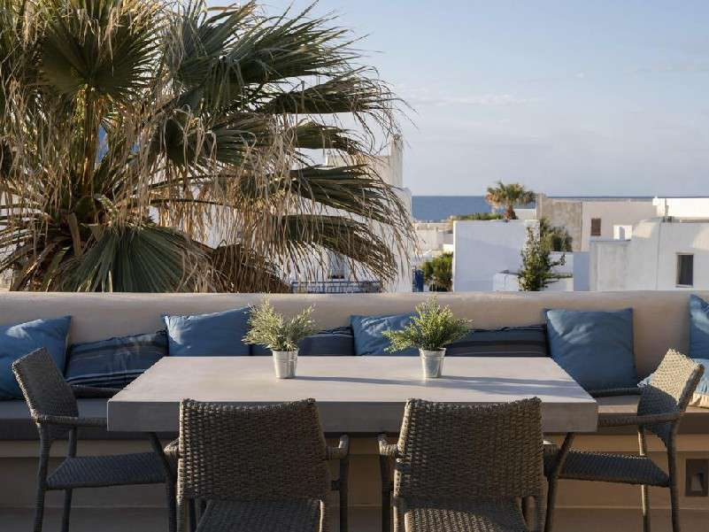 ideal place to sit back enjoy Mykonos sun over a drink