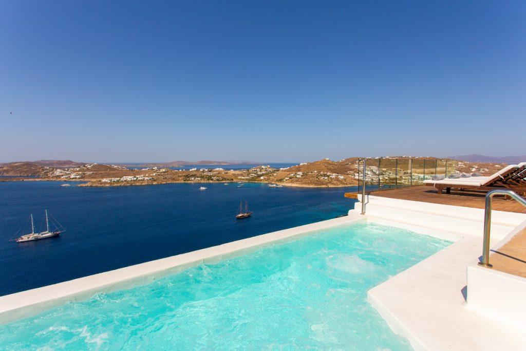 enchanting view of the infinity blue sea of Mykonos