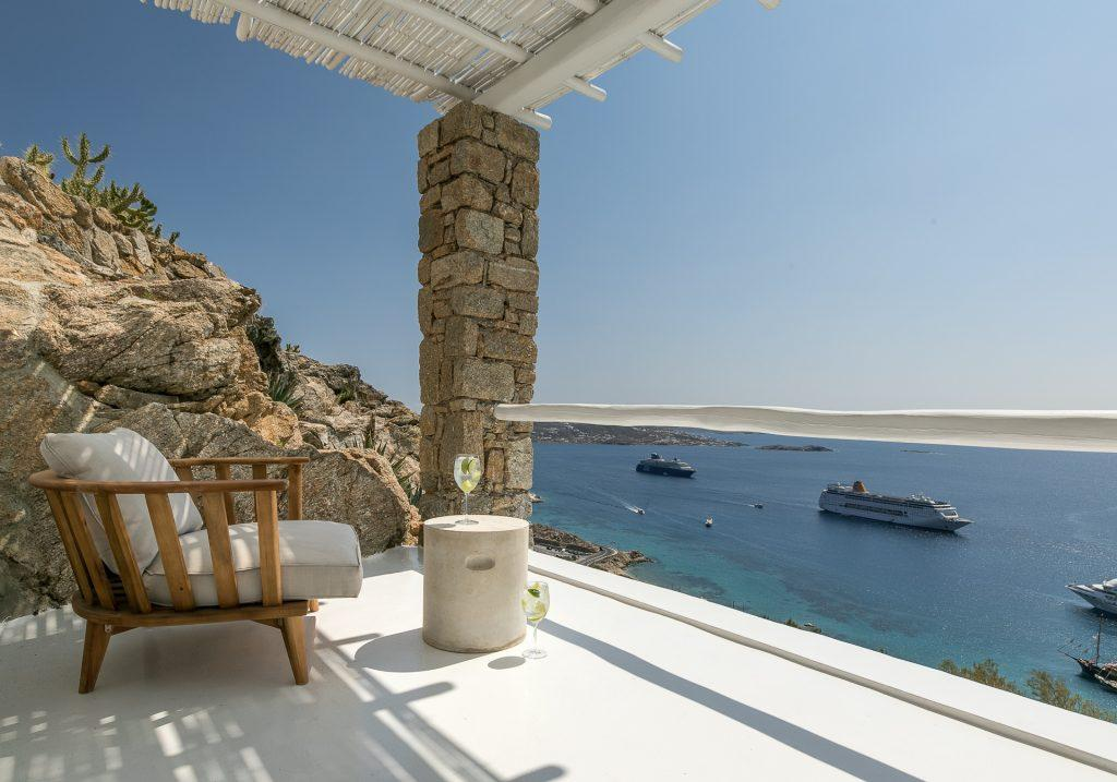 terrace area with armchair with breathtaking sea view