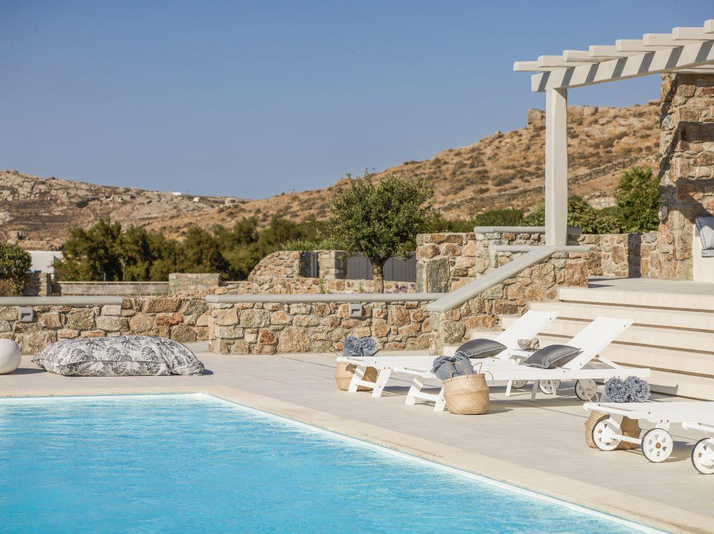 outdoor area with white soft climbers for sunbath