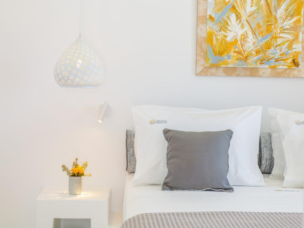 bedroom with night lamp and stand