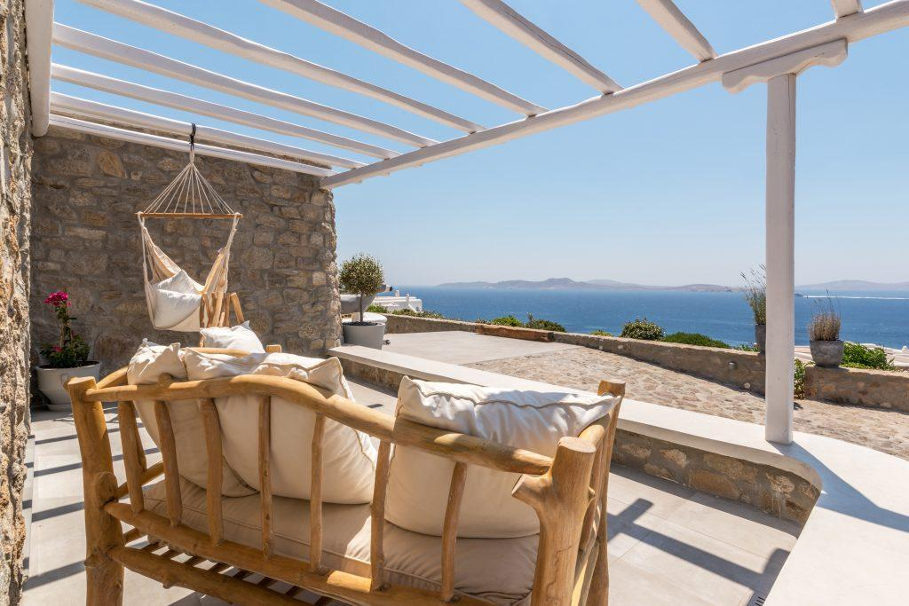 enchanting view of the glistening blue sea from the balcony