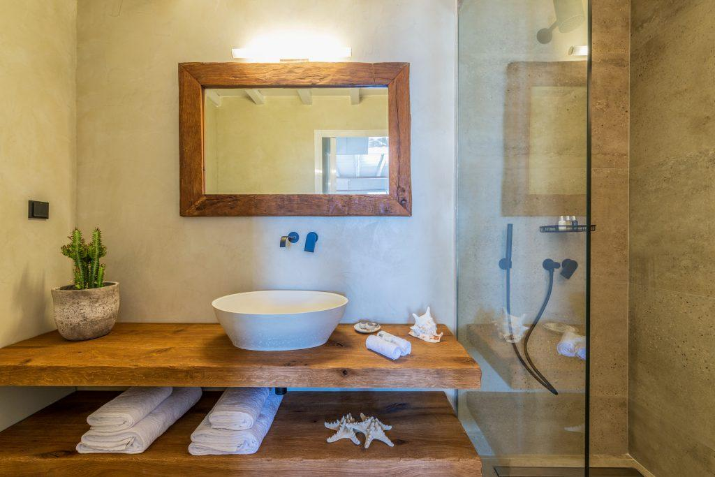 glass tuscabin with white circular sink and decorative cactus