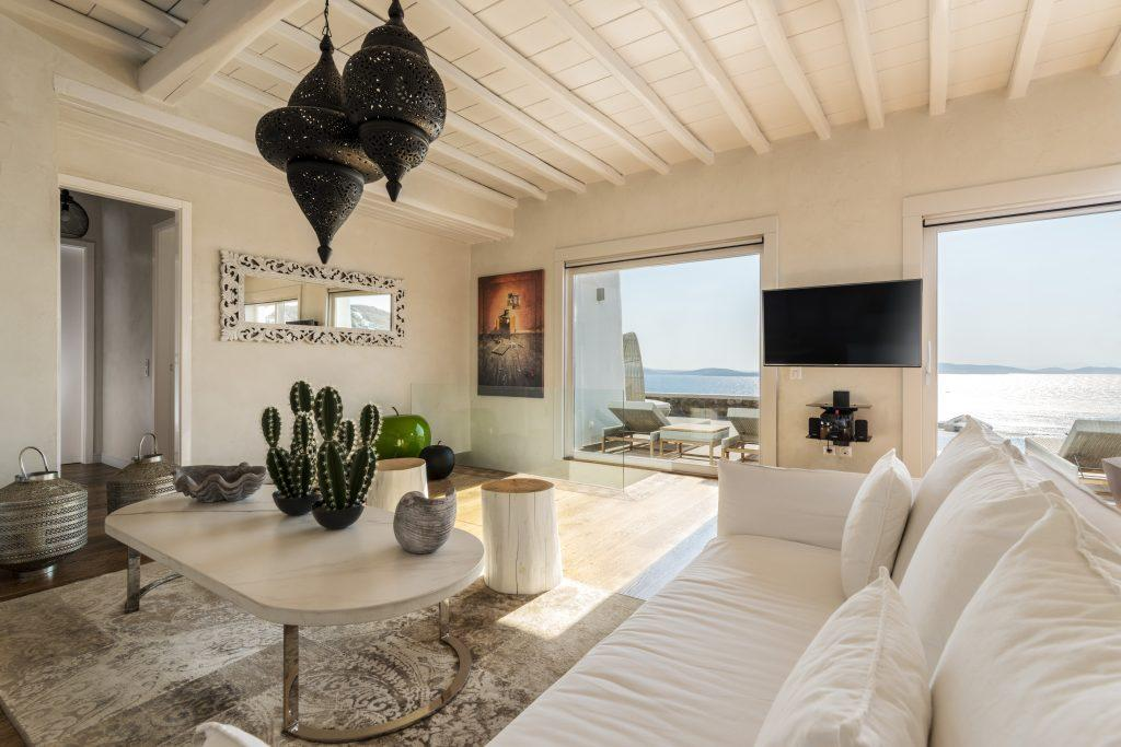 spacious room with a white comfortable sofa and decorative cactus details