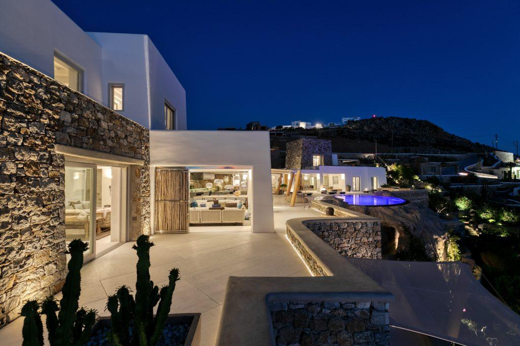 beautiful villa and sky night view followed with the lights