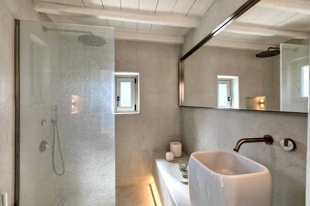 bathroom with shower and modern designed sink
