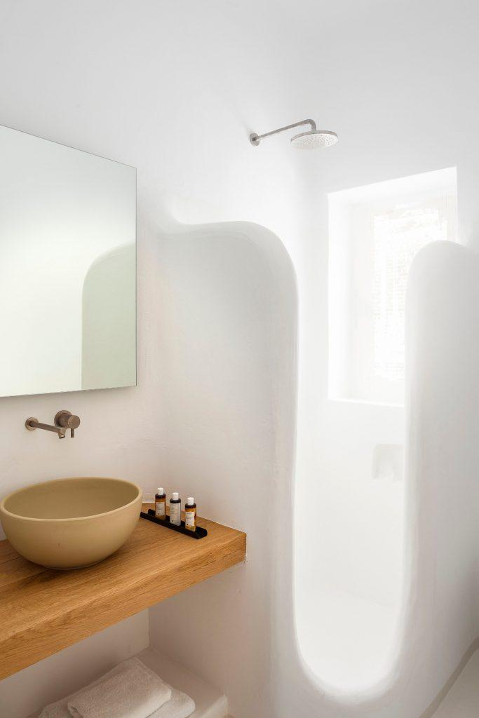 bathroom area for showering and cleaning