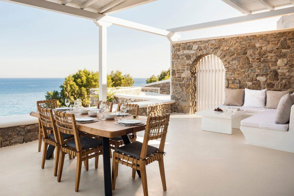 terrace area with dining table to enjoy meals with satisfying sea view