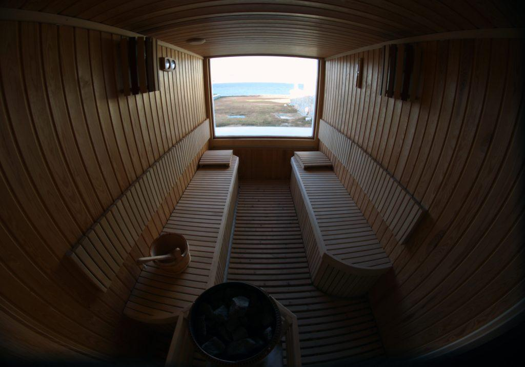 sauna with big window to enjoy the sea view
