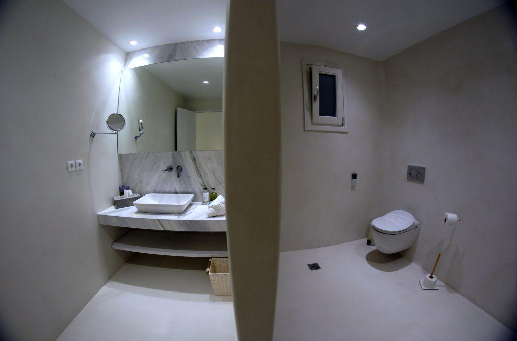 modern bathroom with washstand and toilet