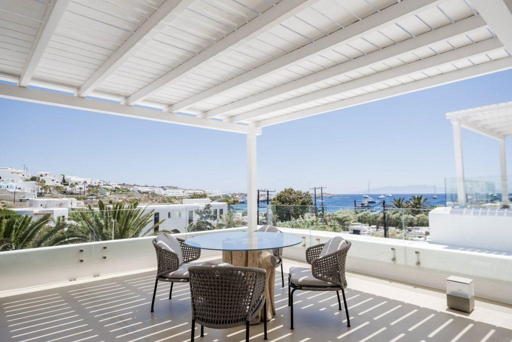 balcony with a stunning view on sea and island