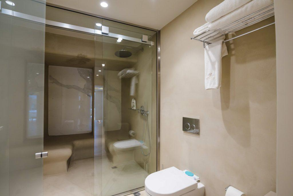 bathroom with beautiful shower and ceramic plate
