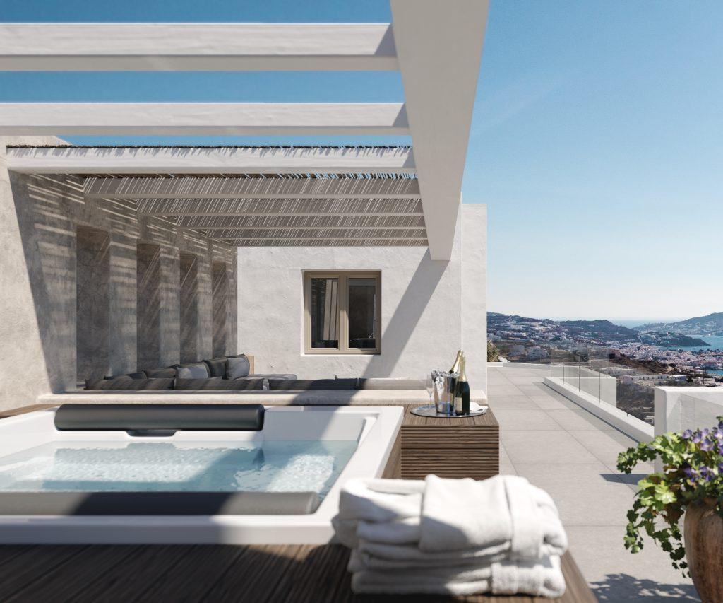 outdoor area with jacuzzi and comfort bench
