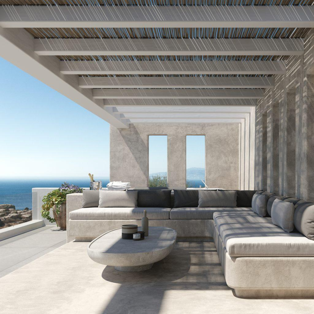 outdoor living area with comfort bench for relaxing and enjoying in view