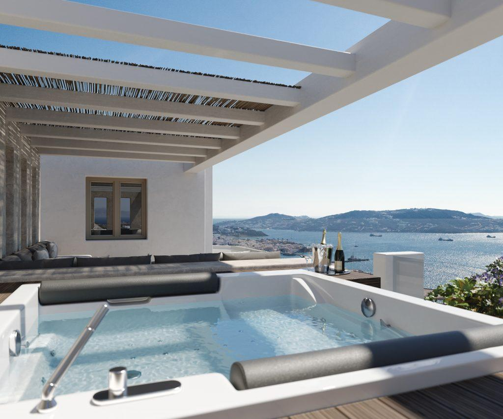 outdoor area with jacuzzi for relaxing and enjoying in view