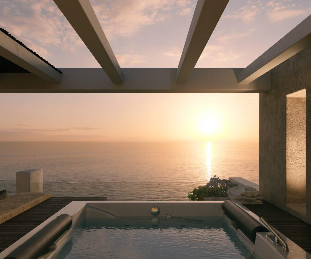 outdoor area with jaccuzi and stunning view