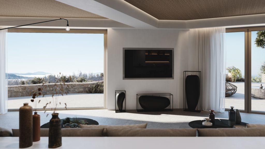 living area with flat wall tv and awesome outside view