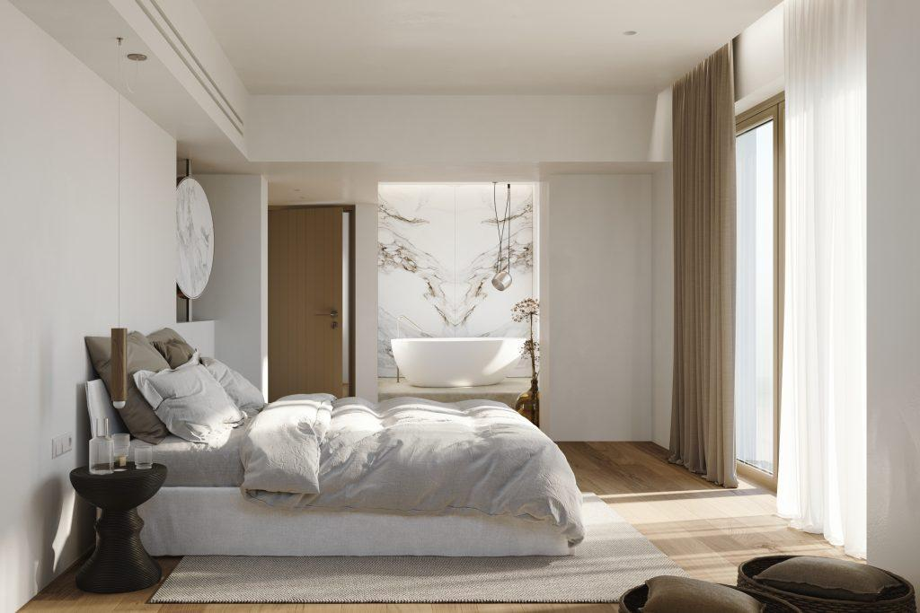 modern designed bedroom with comfort bed and nightstand