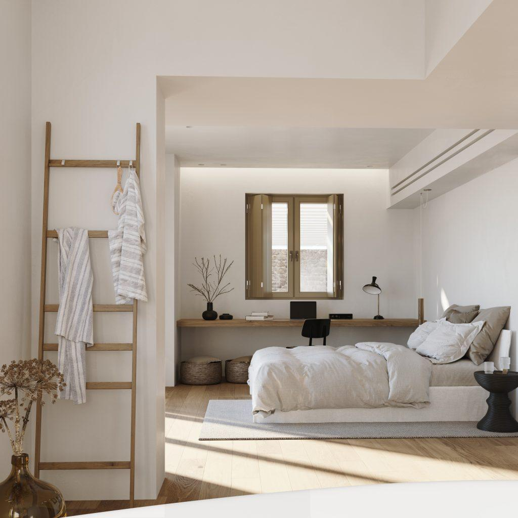 white wall bedroom with comfort huge bed