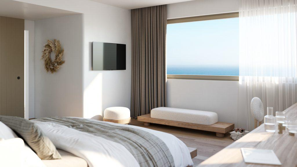 bedroom with beautiful outside view