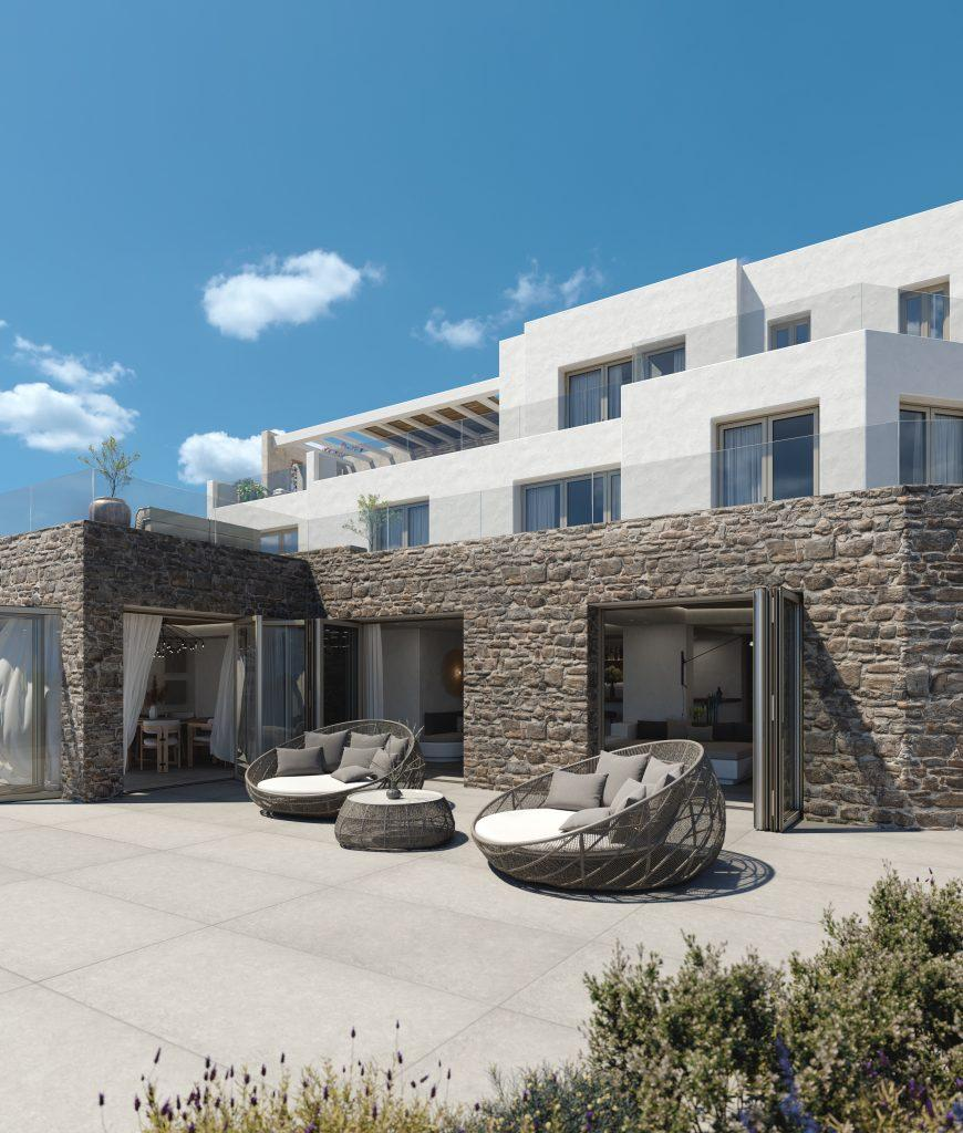 white villa walls with terrace and beautiful sky view