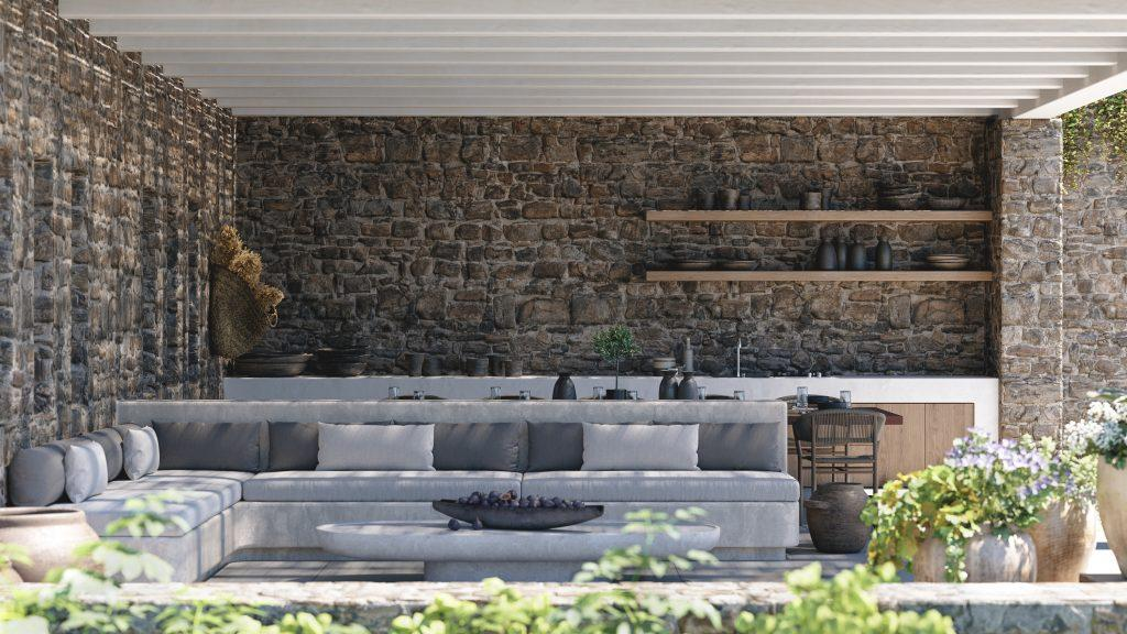 rocky walls area with huge comfort bench