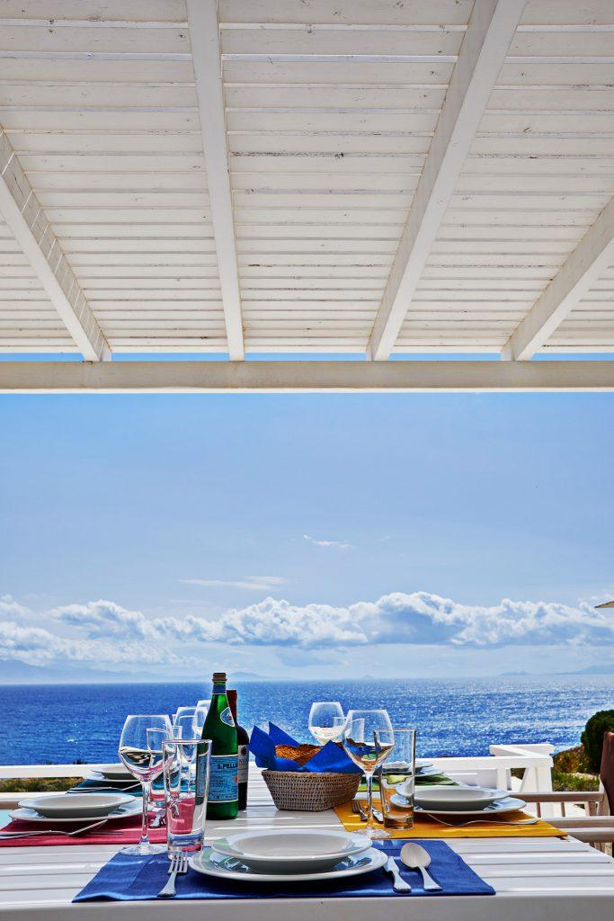 outdoor dining area with breathtaking horizon view