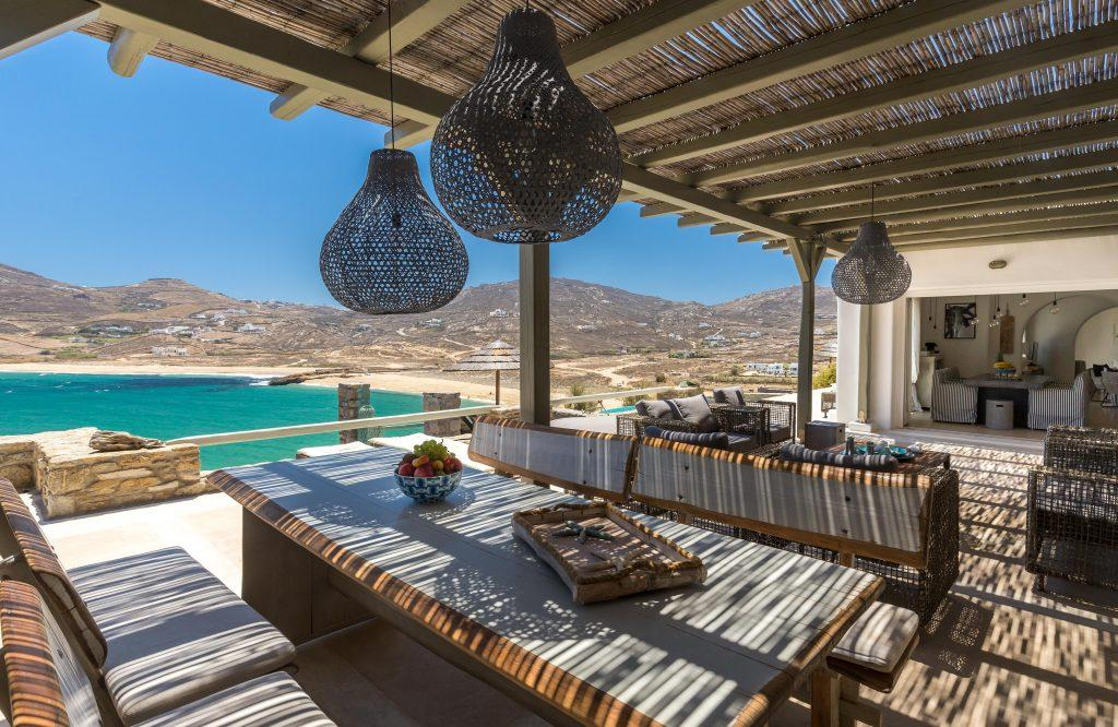 outdoor dining area with roof to protect from the sun