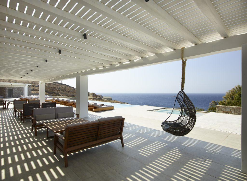 sea view soiree terrace to sit down in the shade or seesaw in nest shaped swing