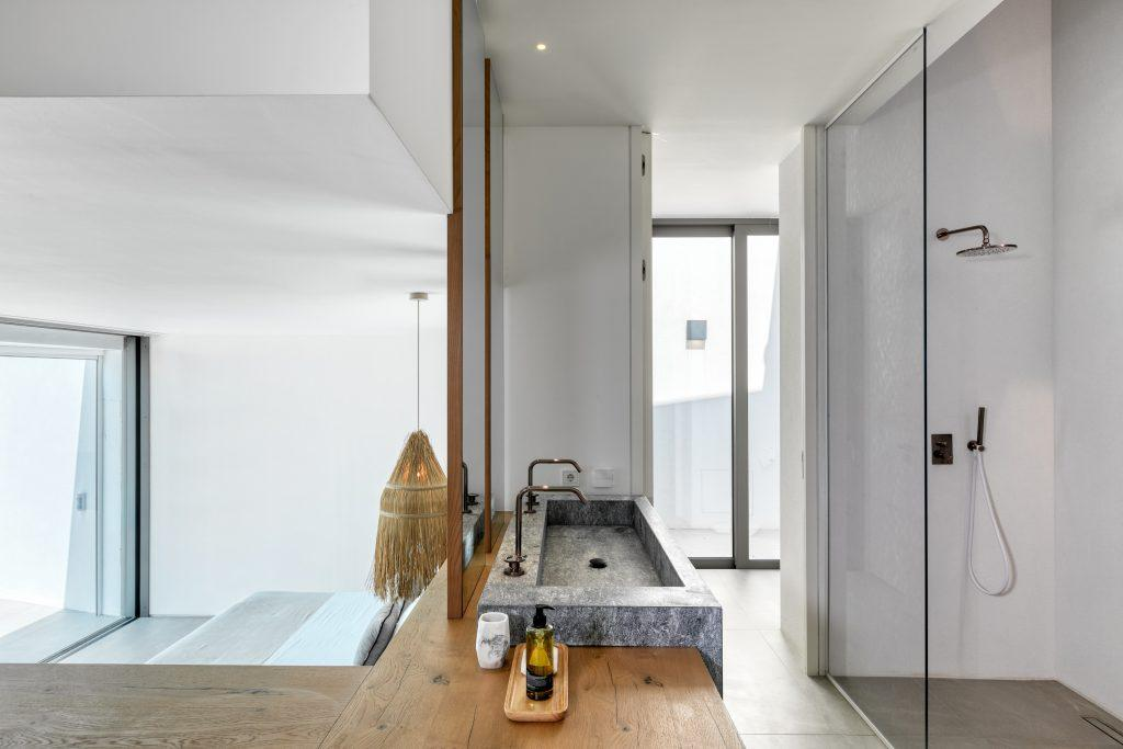 bathroom with huge ceramic sink and glass shower