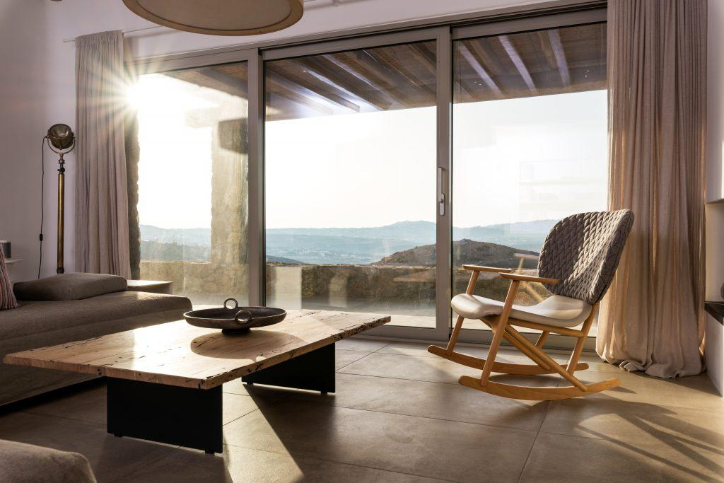 simply designed living room with perfect view through the window
