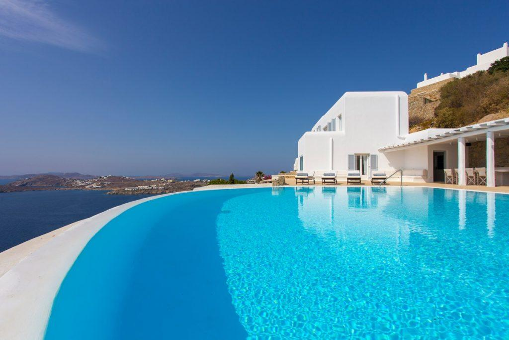 perfect view of the bright blue sea from the pool of pleasant water
