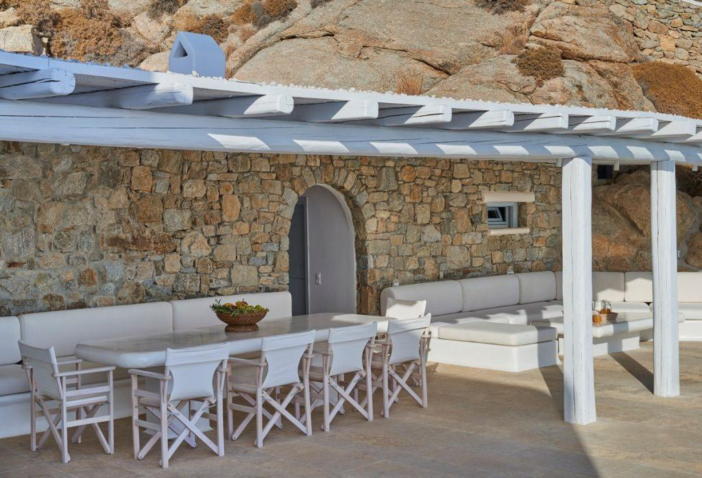 outdoor area with dining table ideal for gathering with friends
