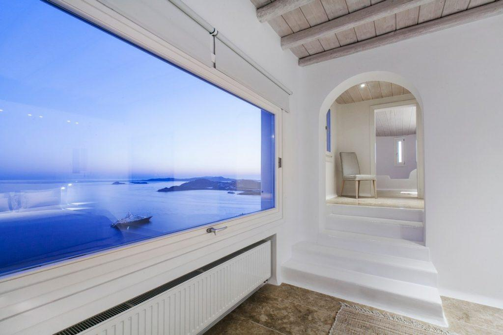 night view of the blue sea and the starry sky from a luxury villa