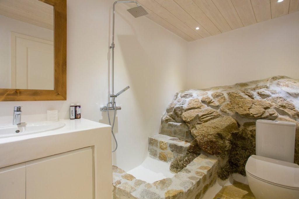 bathroom with stone shower and white toilet