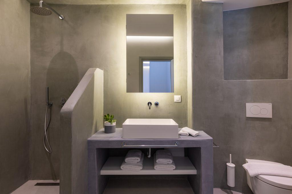 bathroom with gray walls and glass shower